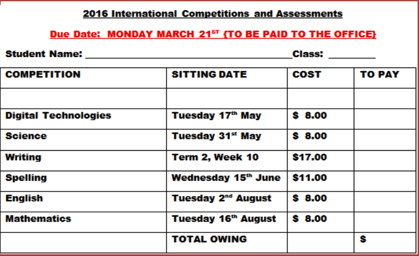 2016 International Competitions and Assessments for Schools